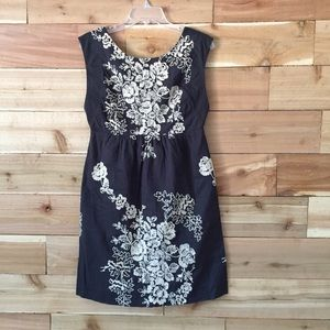 JCREW sz 6 Charcoal Grey embroidery dress •B41•